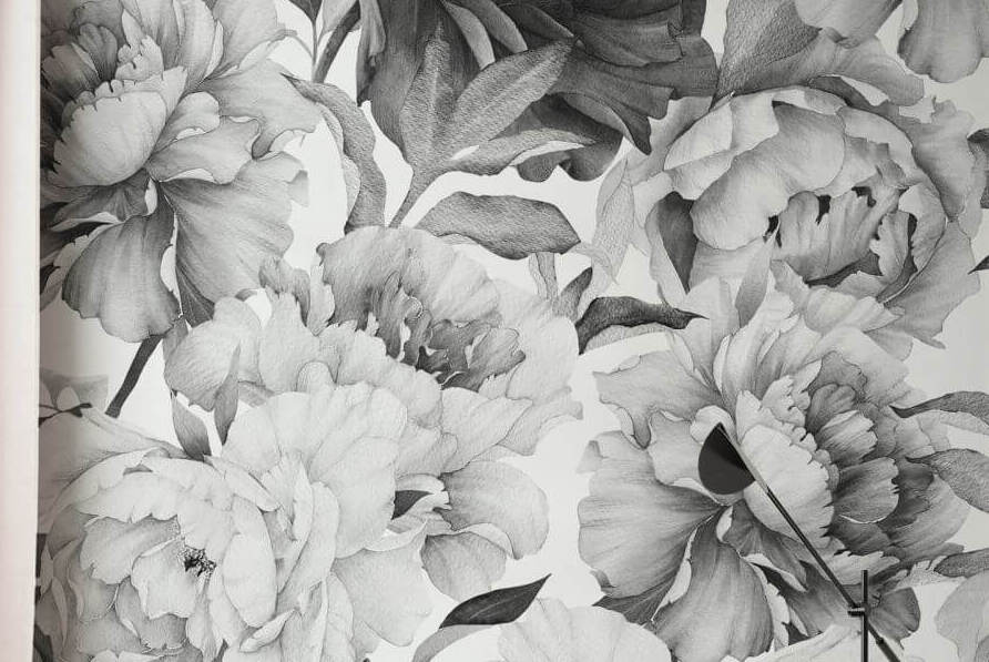 floral charcoal rose flower wallpaper